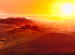 Tuscany Farm in Fields at Sunset